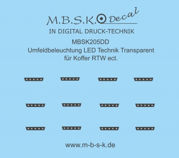Umfeldbeleuchtung LED Technik Transparent für Koffer RTW ect. Premium Digitaldruck Decal MBSK205DD