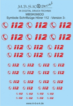 Hörer 112 Symbole/Schriftzüge Version 3 -Rot- Premium Digitaldruck Decal MBSK066DD