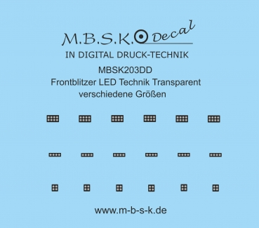 Frontblitzer LED Technik Transparent verschiedene Größen Premium Digitaldruck Decal MBSK203DD