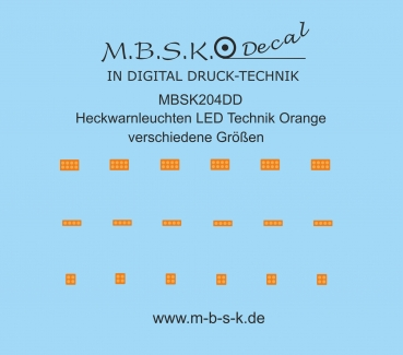 Heckwarnleuchten ect. LED Technik Orange verschiedene Größen Premium Digitaldruck Decal MBSK204DD