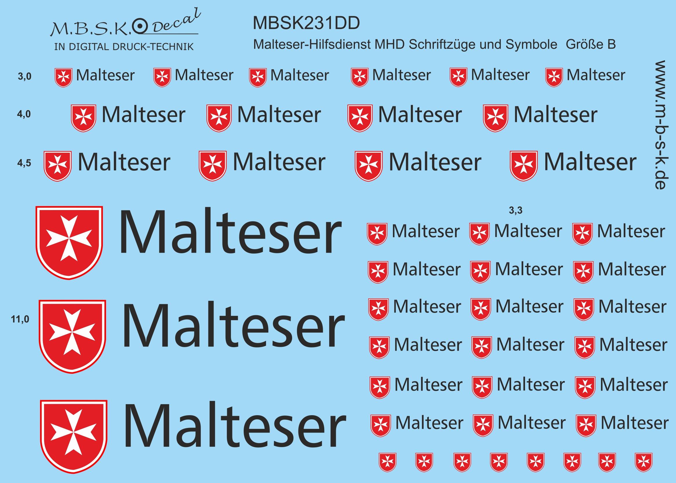 MBSK Modellbau Studio Kaiserberg - Schriftzüge-Symbole Malteser ...