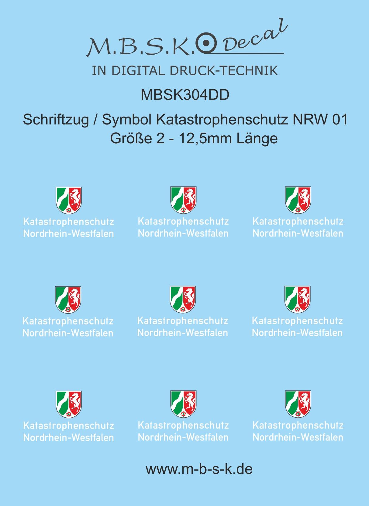 Schriftzug Symbol Katastrophenschutz NRW 211  Schrift weiß  Größe 21, 211,21mm  Länge Premium Digitaldruck Decal MBSK21DD