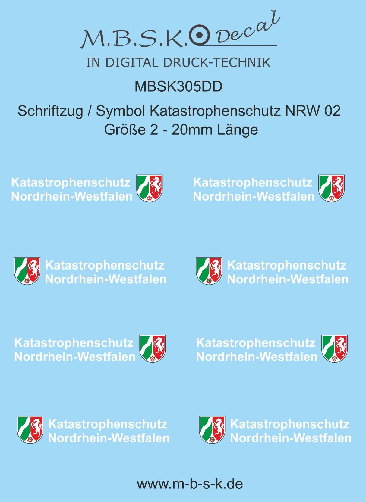 Schriftzug Symbol Katastrophenschutz NRW 211  Schrift weiß  Größe 21, 211,21mm  Länge Premium Digitaldruck Decal MBSK3021DD