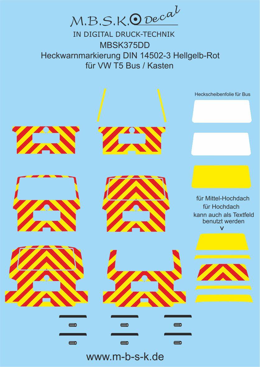 Kasten DIN 14502-3 1:87 DC33 M.B.S.K Decal Heckwarnmarkierungen VW T5 Bus